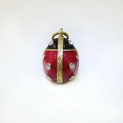 Miniature Easter Egg Faberge Model Ladybug Pendant/Charm with Chain