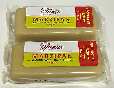 2 Bars Tania White Marzipan Loaf, Almond Paste 2x150g, Marsepein, Pate D'amandes