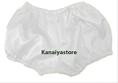 White Satin Pants Pantaloons Sissy Maid Adult Baby Fits With Underwear