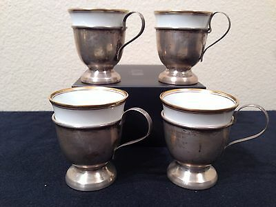 Set of 4 Sterling Silver Demitasse Cup Holders Gold Cup Inserts Hutschenreuther