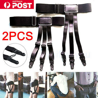 AU 1 Pair Men's Shirt Stays Holders Elastic Garter Belt Non-slip Locking Clamps