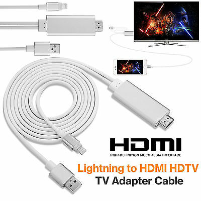 8 Pin 2M Lightning Cable to HDMI TV AV Adapter for iPad iPhone 7 7 Plus 6 6S UK