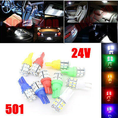 10X 24V 20 LED 501 T10 W5W Side Number Plate Interior Car Light Wedge Bulb Lamp