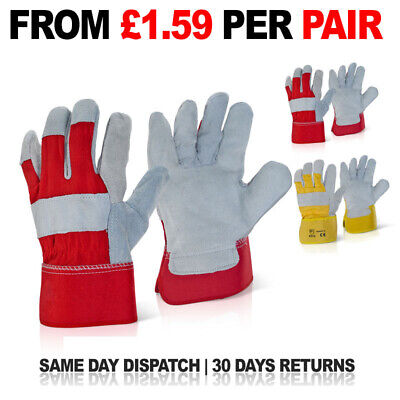 50 X Canadian Leather Rigger Work Gloves Heavy Duty Safety Gauntlet RED / YELLOW