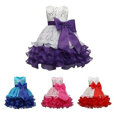 Baby Girl Princess Dress Bridesmaid Party Wedding Flower Bow Formal Tutu Dresses