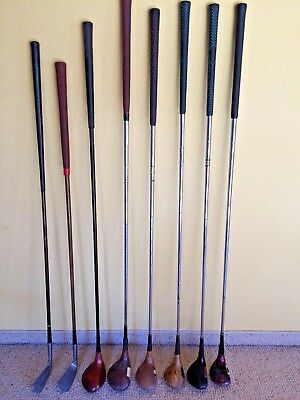 Lot Antique 8 Golf Clubs wood English Scottish American made RARE !