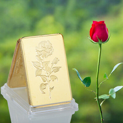 WR Collection Valentine Roses Gold Bar 1 Oz Gold Bullion Bar Gifts for Husband