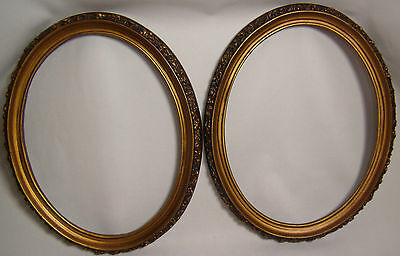 VINTAGE ART DECO OVAL PICTURE FRAMES LOT OF 2 c1980S  FLORAL SCROLL