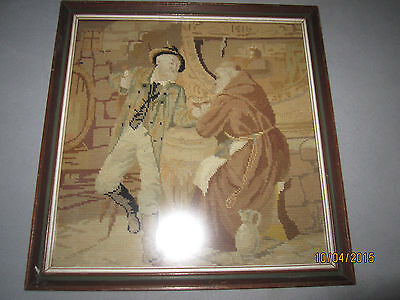 "Antique Hand Made Needlepoint Petite Point 16"" x 16.5"" Framed, monk wine cellar"