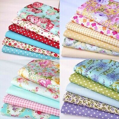 Floral Fat Quarter Bundle 100% Cotton Fabric - Roses Florals Craft, Patchwork