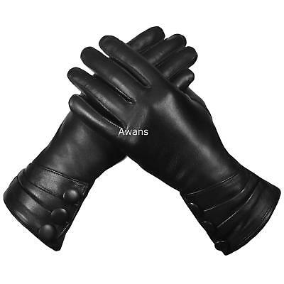 Womens Real Leather Gloves Thermal Thinsulate Lined Soft Warm