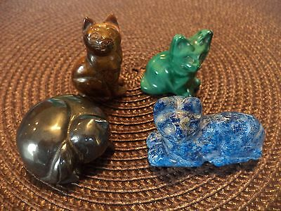 Lot Of 4: Carved Cats Tiger's Eye Lapis Hematite Malachite Figurines Miniatures