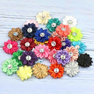 30 Colors  5-25-50PCS Satin Ribbon Flowers with crystal Wedding Appliques/Crafts