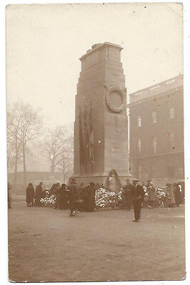 LONDON The Cenotaph at Whitehall, People Inspecting Flowers, RP Postcard, Unused