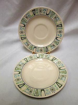 Vintage Taylor-Smith & Taylor Taylorstone Cathay Atomic Starburst, 2 Saucers