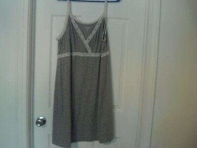 Womens Gray & White Lacy Night Gown Size L By Motherhood Maternity Sleep wear