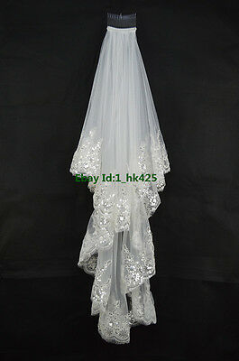 New 2 Tier Lace Edge with Sequins Fingertip Length Wedding Bridal Veil with Comb