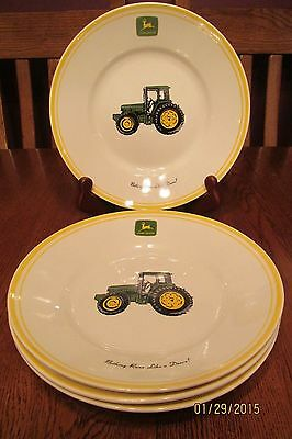 "Set Of Four Gibson John Deere Farm Tractor Plates ""Nothing Runs Like A Deere!"""