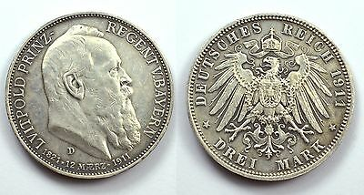 Germania Germany -Ag/ 3 Drei Mark 1911 D Bavaria