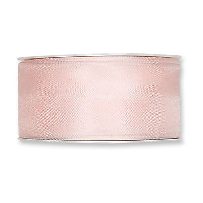Blush Pink Organza ribbon 40mm wired fabric 25m roll Made in Germany