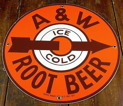 A&W Root Beer Ice Cold Arrow Pointing Right Orange Brown Round Porcelain Sign