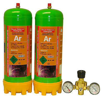 2 disposable Argon gas bottle 220ltr for mig/tig welding + twin gauge regulator
