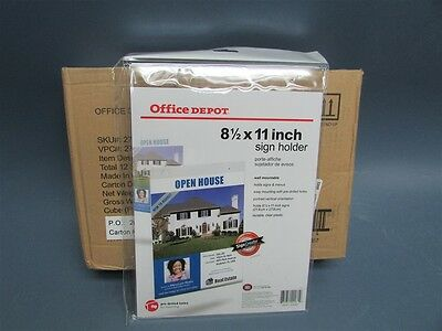 """Box of 12 8-1/2"""" x 11"""" Wall Mountable Clear Plastic Sign Holders"""