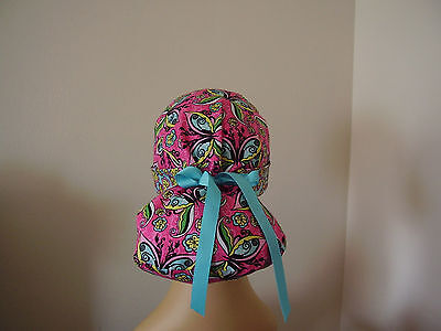 Ponytail Pouch Scrub Hat - Butterfly/Floral- Multi color - One size
