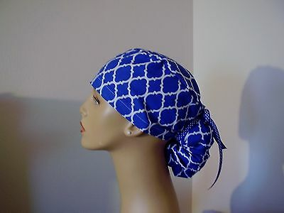 Ponytail Style Surgical Scrub Hat- Moroccan-Royal/White Quatrefoil- One size