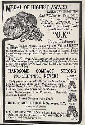 "Antique 1908 Ad(F4)~""o.k"" Paper Fasteners Mfg. Co. Syracuse, Ny."