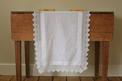 Vintage White Linen Tablecloth Runner Mat Hand Embroidered Flowers Crochet Lace