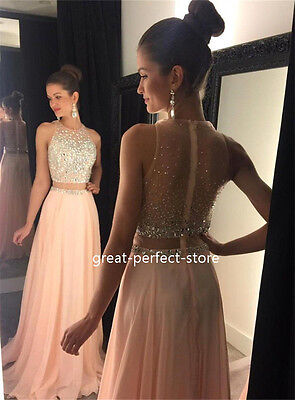 2 Piece Jeweled Prom Dress Evening Dresses Formal Gowns Party Custom Size 16-22+