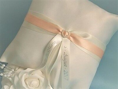 PERSONALISED WEDDING RING CUSHION/PILLOW. White/Ivory satin & 20 trim colours