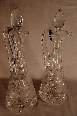 """9 1/2"""" Tall Pair Nice Crystal CRUET SET Glass Prism Stoppers etched w/ 136 & 59"""