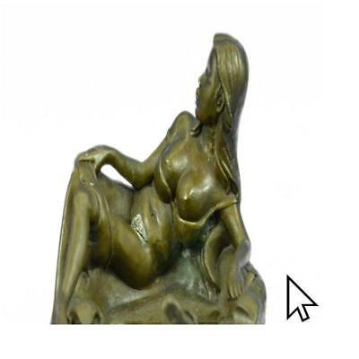 Signed Original Semi Nude Pin Up Girl Ashtray Art Bronze BW Sculpture Statue