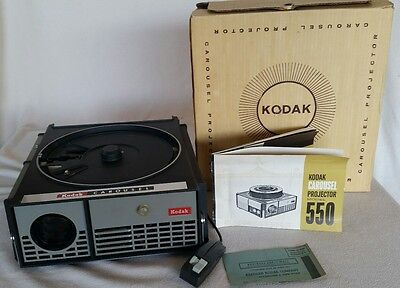Vintage KODAK Carousel Projector Model 550 with Remote, Manual & Org. Box Works!