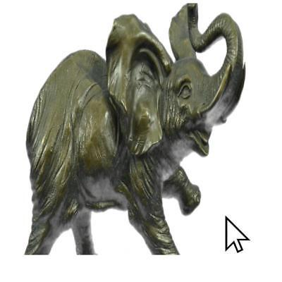 Large Signed Art Deco African Elephant By Bugatti Hot Cast Bronze BW Sculpture