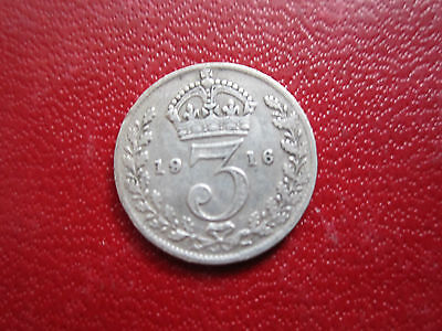 Uk  Great Britain 1916 Threepence  *king George V*  Silver