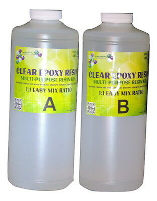 CLEAR EPOXY RESIN TABLETOP, FIBERGLASS, COATING, WEATHERPROOFING - 64oz