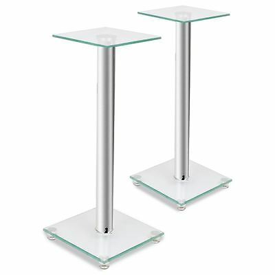 2pcs Speaker Stands Pair Glass Aluminum Sliver Pillar Monitor Floor Stand Studio