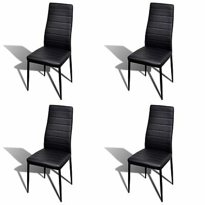 Modern 4 pcs Black Slim Line Dining Room Chairs Office Chair Artificial Leather