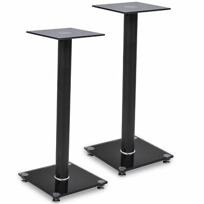 2pcs Speaker Stands Pair Glass Aluminum Black Pillar Monitor Floor Stand Studio