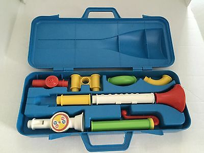 Vintage Fisher Price Crazy Combo Horn Set w/case # 604 1984