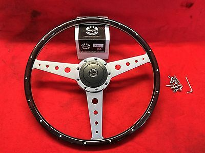 "Land Rover Series 3  17"" Dark Wooden Polished Steering Wheel And Bos Kit New"