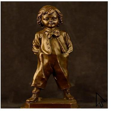 Collector Edition Buhner Signed Art Young School Boy Bronze BW Sculpture Statue