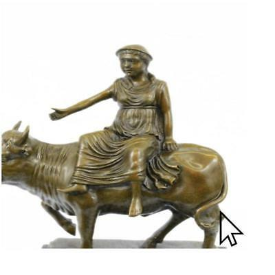 Abstract Botero Young Woman Rides A Bull Bronze BW Sculpture Statue Figurine