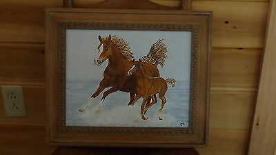 """A Colt and his Dad in the Surf (11"""" x 14"""") Painting by Artist"""