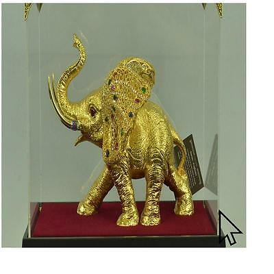 Massive Art Deco 24K Gold African Elephant Bronze BW Sculpture Statue Figurine
