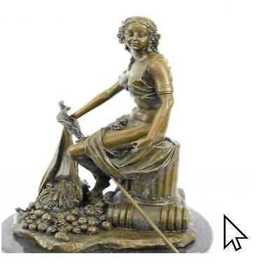 Vintage Ancient Roman-Greek Mythology Art Nouveau Bronze BW Sculpture Statue Fig