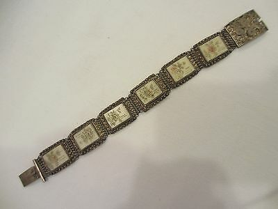 Gorgeous Chinese Export Filigree Silver And Etched Bone Floral Panel Bracelet